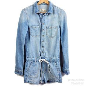 Hollister Denim Romper Shorts Light Blue Jean XS